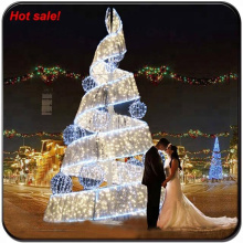 Led twist hanging giant lighting Christmas tree outdoor