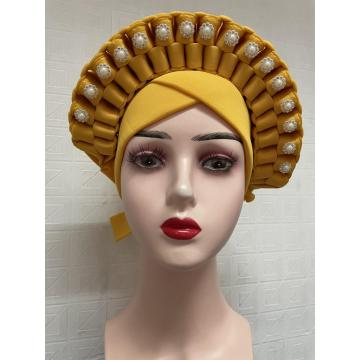 High Quality African Nigeria Gele Elegant Headtie With Stones Headband Turban Head Scarf Head-Wrap Cap Auto Gele Brand New Hats