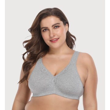 In-stock plus size cotton wireless no padded bra