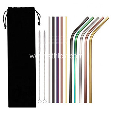 10 Pcs Multicolor Reusable Stainless Steel Drinking Straws