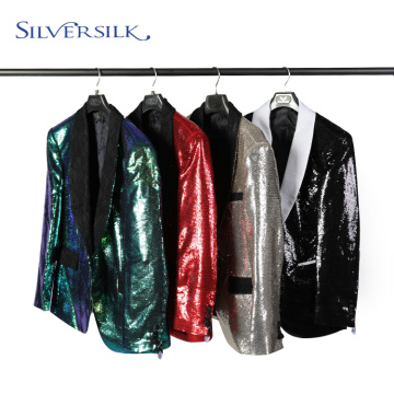 Adult Shawl Collar Reversible Sequins Jacket Men's Coats
