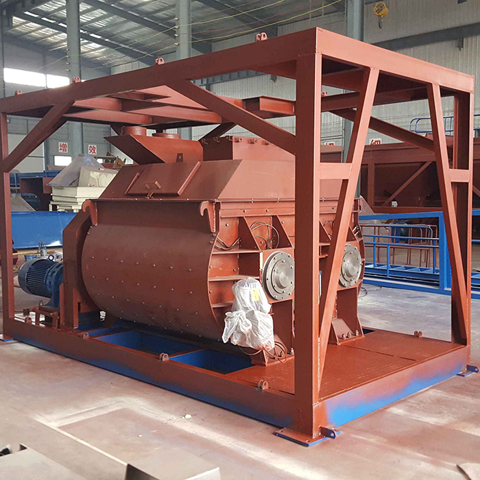 Self loading electric twin shaft JS concrete mixer