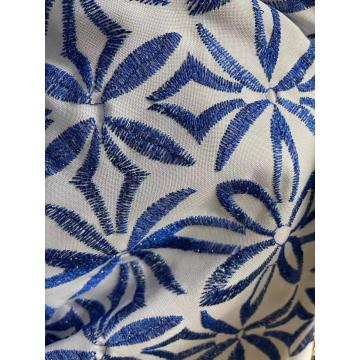 metallic yarn dyed satin design embroidery fabric