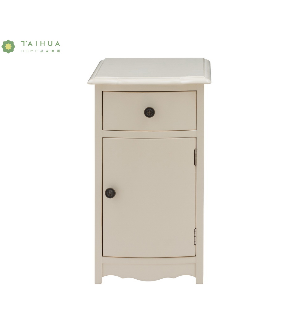 Ivory White Solid Wood Night Stand