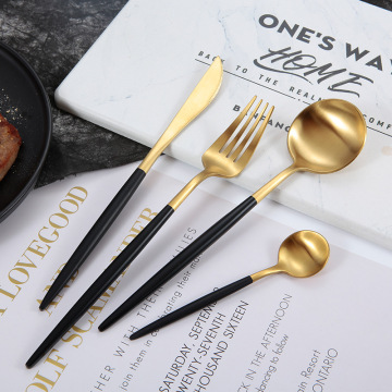 Wholesale Black Matte Cutlery Gold Spoon Knife Fork