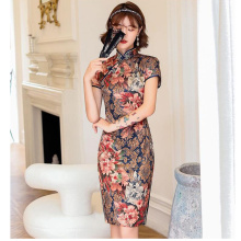 Cheongsam Dress Vintage Plus Size Chinese Traditional Dresses Floral Slim Dress Qipao for Women Party Cheongsam Wedding 8 Colors