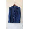 Double breasted slim bridegroom tuxedo navy blue blazer