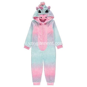 Rainbow unicorn embroidery fleece onesie