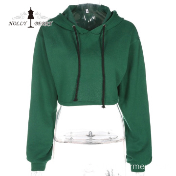 Hooded Midriff-baring Cotton Casual Short Sports Pullover