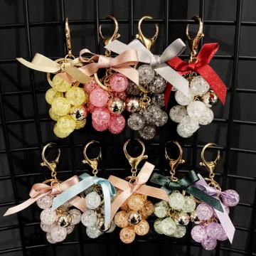 Fashion Small Fresh Crystal Grape Bunch Key chain Hot Sale Cloth Bow Car Keyring New Arrival Creativity Gift Pendant Accessories