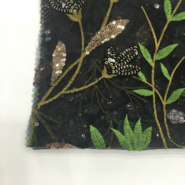 2019 Luxury Design Sequin Embroidery On Poly Mesh