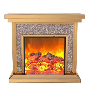 mirrored glass electric fireplace