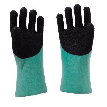Green  PVC coated gloves Black foam finish