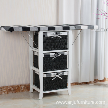3 laundry baskets bathroom folding ironing board cabinet table with storage drawers