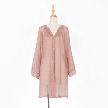 Real Silk Long Sleeve Transparent Mini Dress