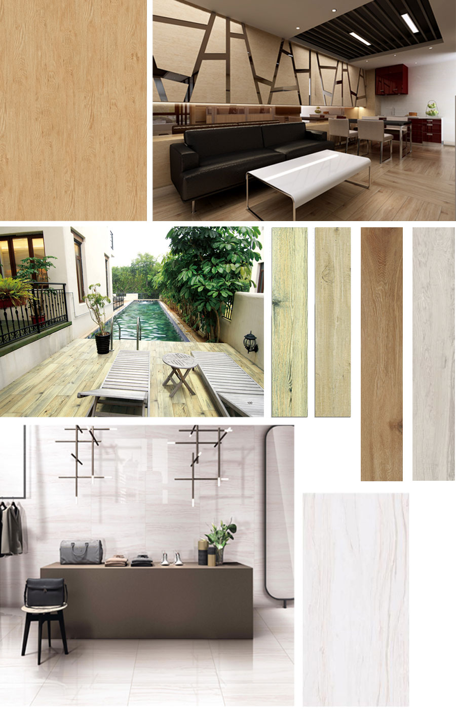 Porcelain wood look tile white flooring