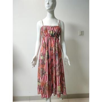 Printed Viscose/Nylon Sling Dress