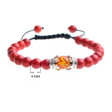 Amber and Crown Charm Red Turquoise Beads Woven Bracelet