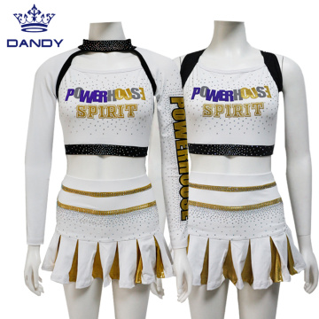 Youth Gold AB Crystals Cheerleading Outfits