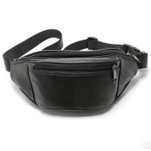 Unisex Black Pu leather Fanny Pack Waist Bag