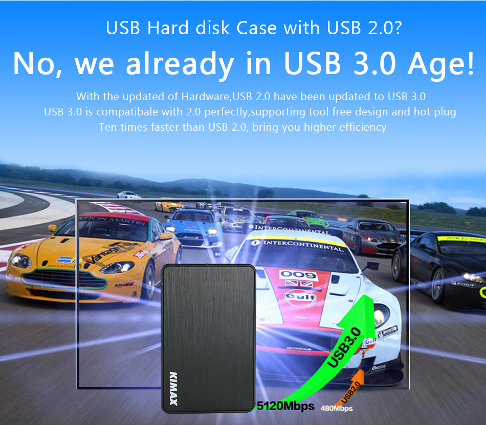 blueendless 2.5 Inch HDD Case Sata to USB 3.0 Hard Drive Disk External Storage Box HDD Enclosure with USB Cable(not include hdd)