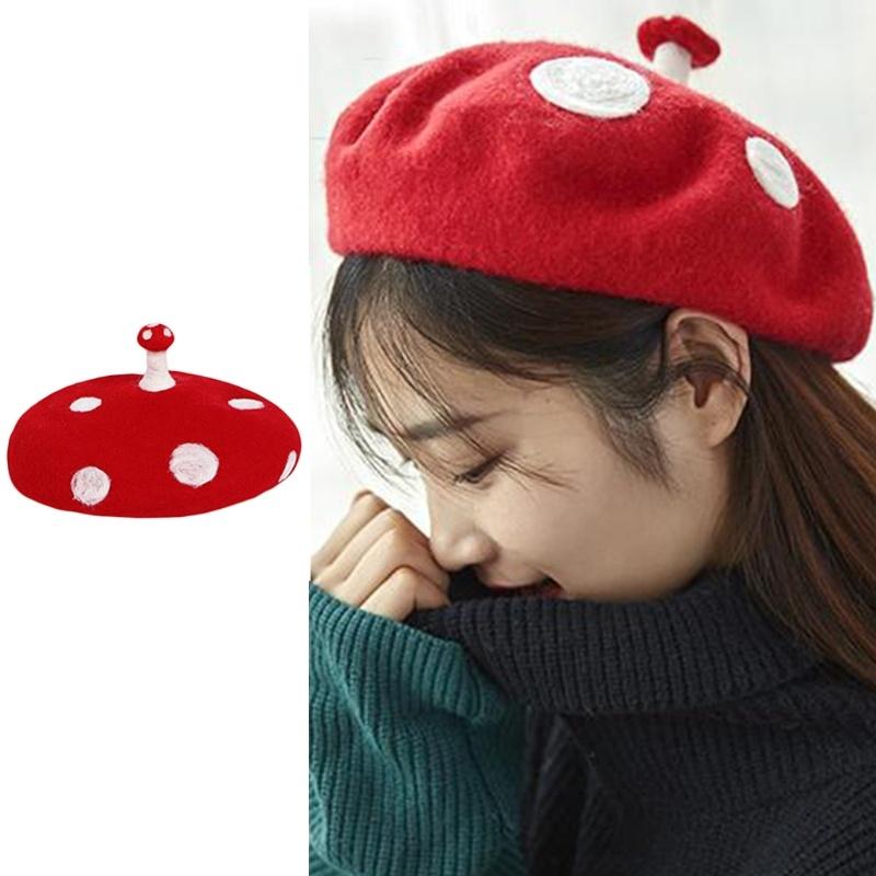 Women Kids Novelty Cute Small Mushroom Red Beret Cap Handmade Faux Felt Wool White Point Vintage French Artist Painter Hat