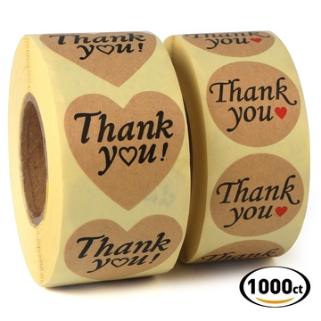 Kraft seal thank you label self adhesive roll