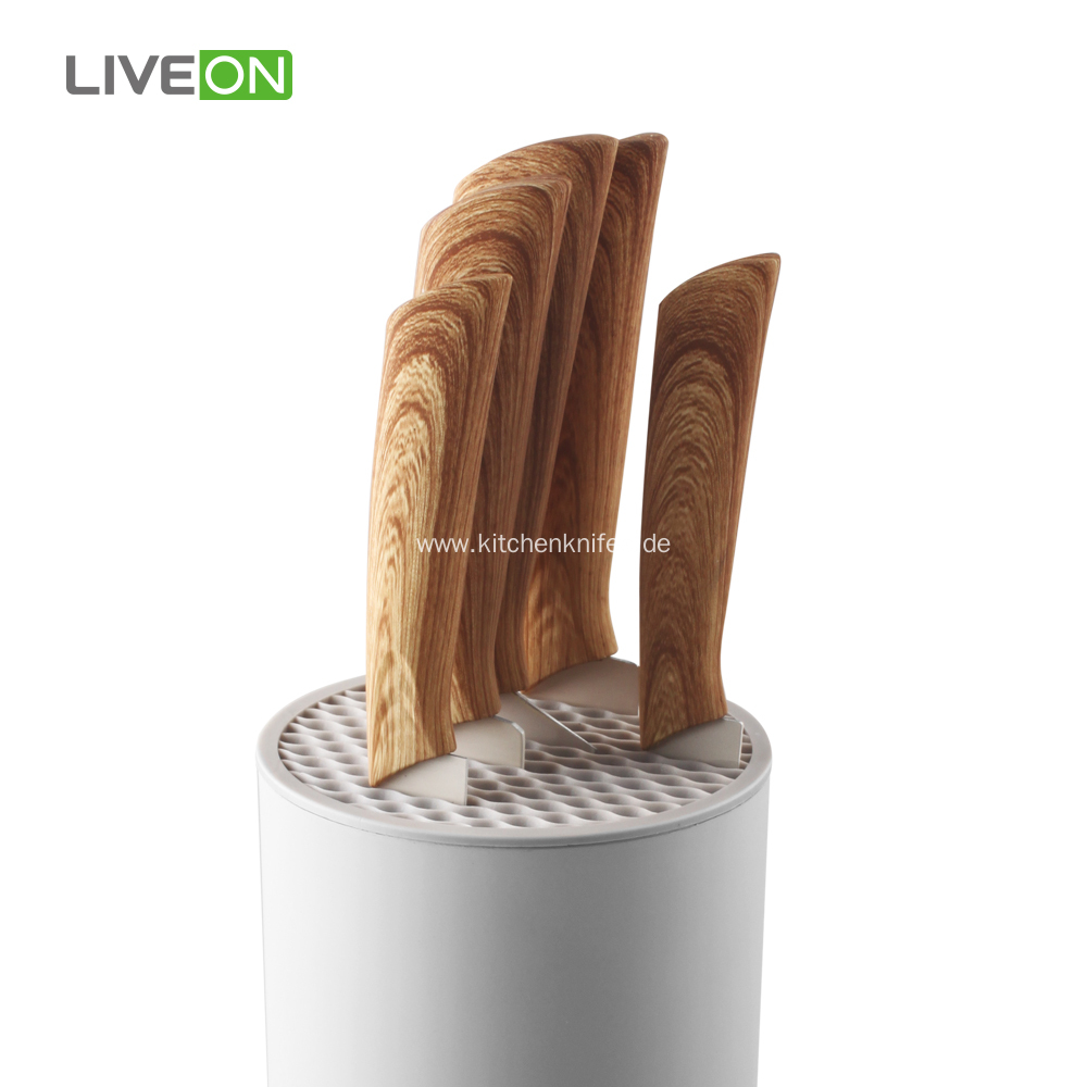 5pcs ABS Handle Coating Knife Set With Block