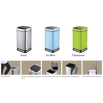 Sensing trash can with hanging plastic bracket