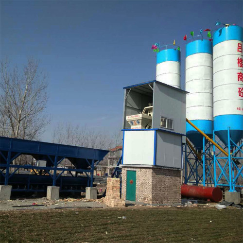 Control system concrete batching plant with cement mixer