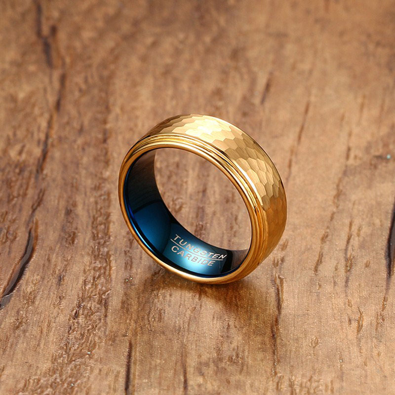 Two tone hammered tungsten mens wedding bands