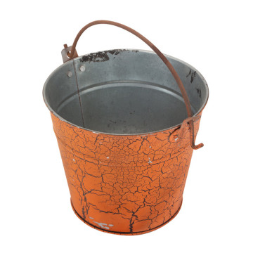 Tin Treat Bucket Decorated With Spiderwebs.