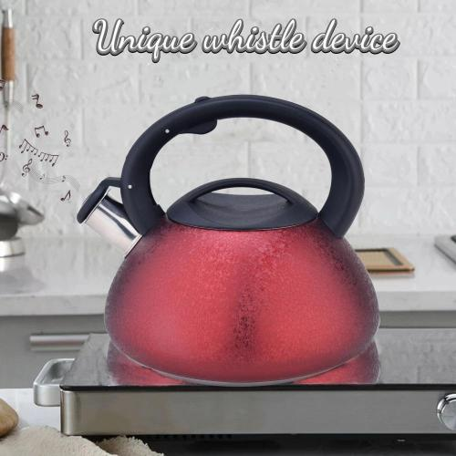 Red Frosted Stainless Steel Whistling Teapot
