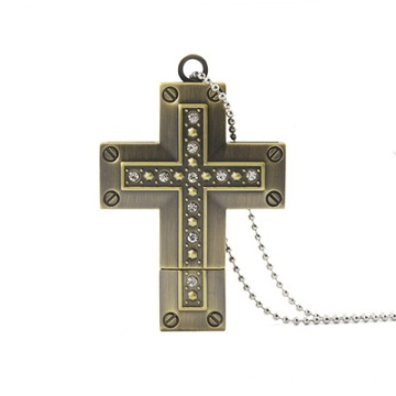 Metal Crystal Cross USB Flash Drive