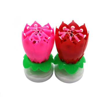 Lotus flower magic musical rotating birthday candle