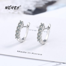 NEHZY 925 sterling silver new women fashion jewelry high quality crystal zircon earrings hot sale retro simple hollow earrings