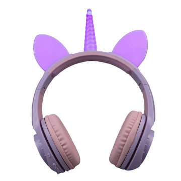 Atacado Wireless Unicorn Headphone Led for Girls