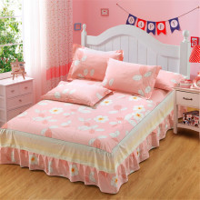 White pink flowers bedding for adult children Bed Covers Mattress Cover skirt pillowcase 3pcs Cotton twin full queen king size
