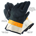 Orange and black pvc coated gloves safety cuff