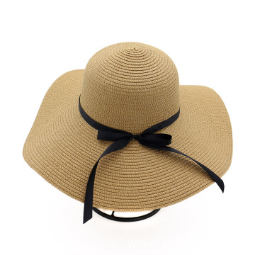 Large brim straw hat store bowtie floppy hat