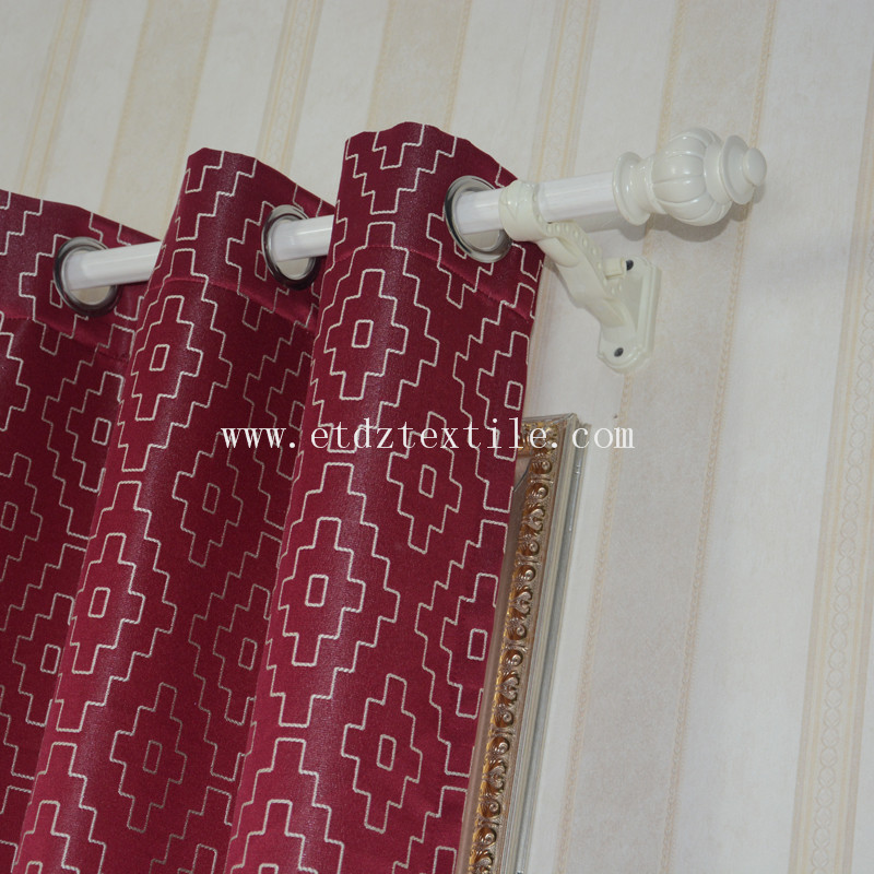 Polyester Embroidery Design of J Curtain Fabric GF026 Red