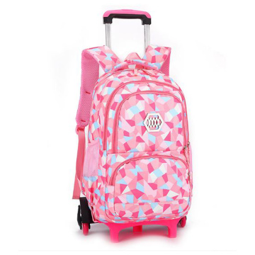 Girls Durable Outdoor School Bag Detachable Trolley Backpack