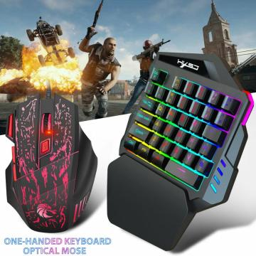 Mobile Phone PUBG Keyboard Mouse One-Handed Game Gaming Keyboard Mouse Keypad with LED Backlight 35 Keys