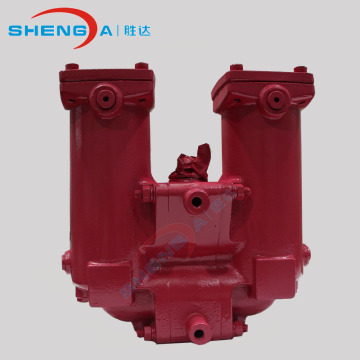 Casted duplex inline oil filter housing set
