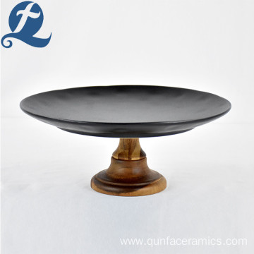 Hotel Display Luxy Custom Ceramic Stoneware Matte Black Cake Plate for Decoration