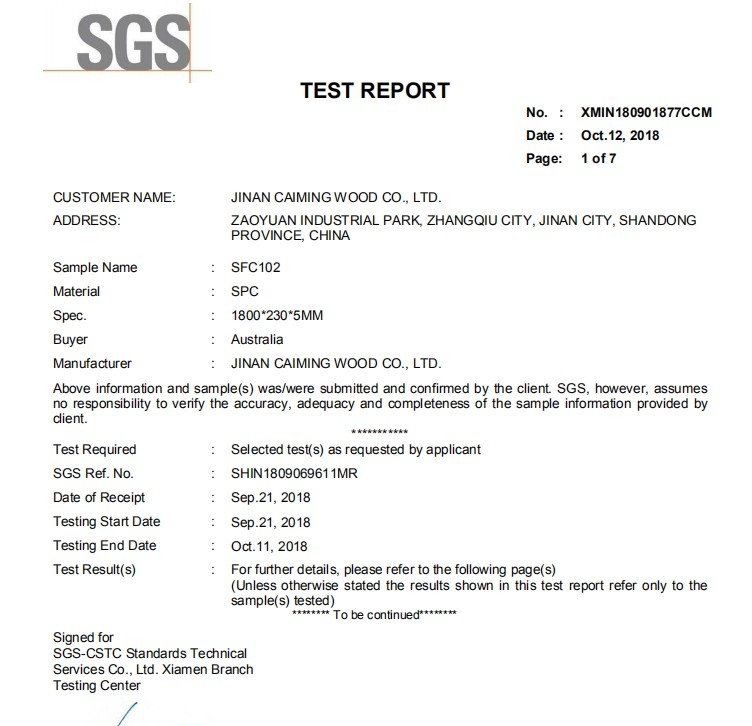 Stone Surface Spc Floor sgs test