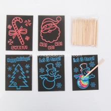 Christmas Scratch Art Colour Postcard