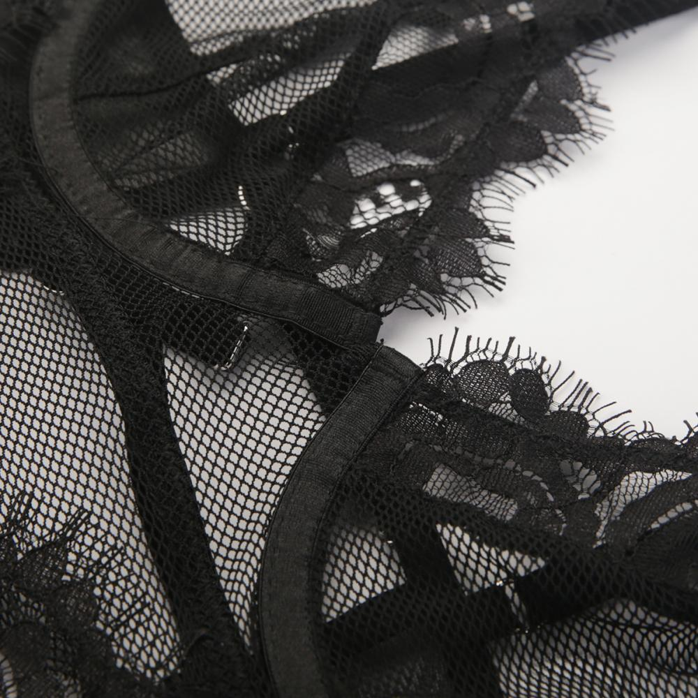 Fishnet With Eyelash Lace At Cup Edge