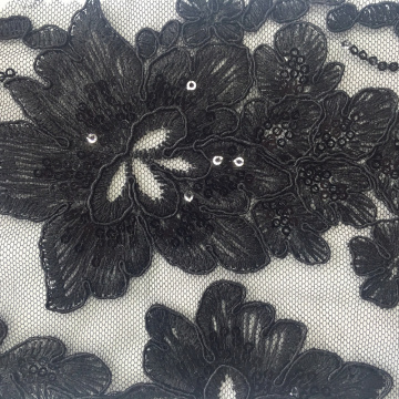 New Fashion Cord Embroidery Fabric With Sequin Design