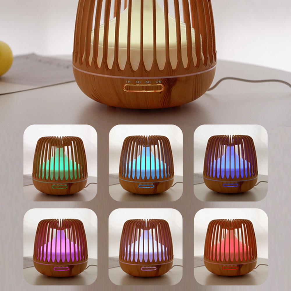 500ML Aroma Essential Oil Diffuser Ultrasonic Air Humidifier Wood Grain Color Changing LED Light Cool Mist Difusor Spray Home sd